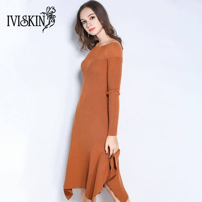 2017 autumn winter knitted mermaid dress women fashion long sleeve slash neck dresses solid cemal ladies