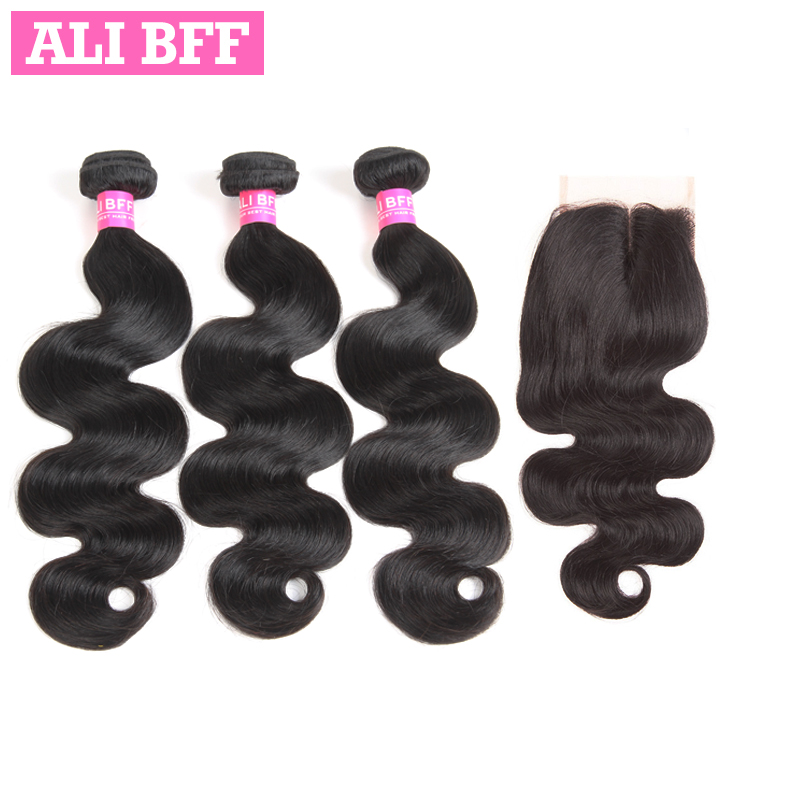 ALI BFF Brazilian Hair Weave Bundles With Closure Body Wave Human Hair Weave Bundles Remy 3 Bundles With Closure Natural Color