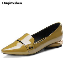 Ouqinvshen Hollow Yellow High Heels Big Size 34-42 Casual Genuine Leather Pumps Women Shoes Metal Decoration Summer Shoes 2.8CM