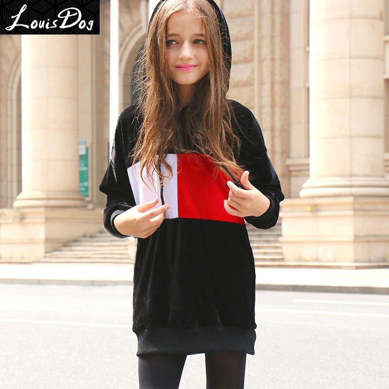 LouisDog Fleece Hoodies for Girls Kids Contrast Color Velvet Hoodie Teenagers Long Loose Fit Velour Sweatshirt for Spring Autumn