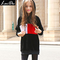 LouisDog Fleece Hoodies for Girls Kids Contrast Color Velvet Hoodie Teenagers Long Loose Fit Velour Sweatshirt for Spring Autumn