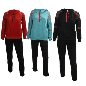 2PCS Women Jacket Sweat Pants Suit Sexy Set Track Suit Hoodies