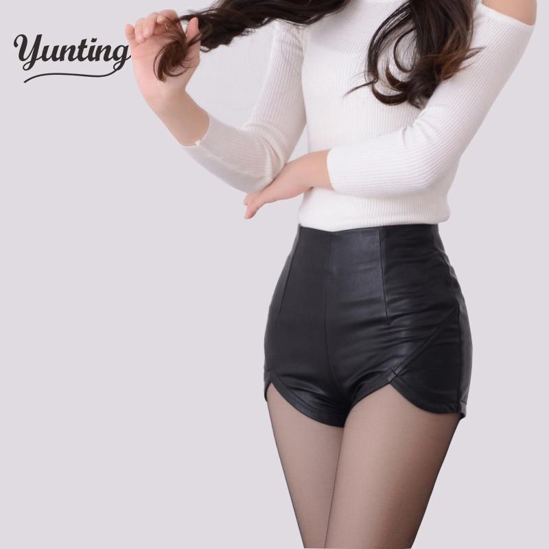 2019 New Fashion High Waist Shorts Vintage Slim Slit High Quality  Leather Short Sexy Black Red PU Women's Shorts Summer