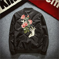 2016 New Mens Fashion Bomber Jacket Rose Embroidery Windbreaker Jacket Black Army GreenSlim Fit Jacket Z1318