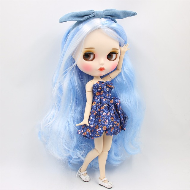 TBL Neo Blythe Dolls白色藍色頭髮連接身體