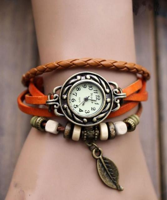 2018 hot Retro Butterfly Leaf Fashion leather Bracelet Water Quartz Hand Clock W