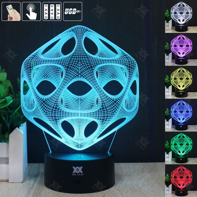 Abstraction 3D Night Light RGB Changeable Mood Lamp LED Light DC 5V USB Decorative Table Lamp Get a free remote control