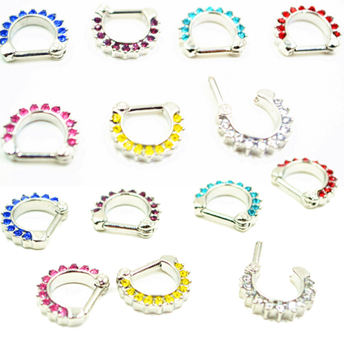 Unisex Punk Non Piercing Crystal Fake Nose Ring Stud Hoop clicker Gold Piercing Septum Clickers Nose Rings 16g Indian Nose Ring