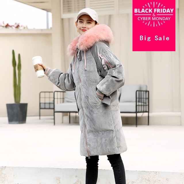 Winter good quality big natural fur duck   down     coat   female velvet fabric thicker long warm   down     coats   wq527 dropship