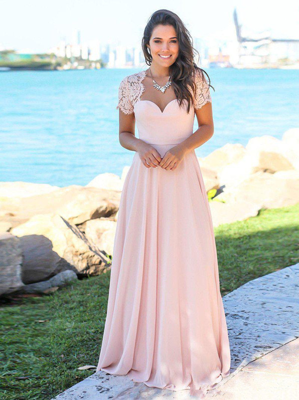 Blush 2019   Bridesmaid     Dresses   For Women A-line Cap Sleeves Chiffon Lace Long Cheap Under 50 Wedding Party   Dresses