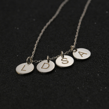 Customized Engraved Initals Discs Necklace Solid Silver Stacked Mini Round Pendent Choker Necklace Christmas Gift