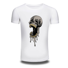 DY 203 Punk Style T Shirts O Neck Skull Printed Hiphop Summer T Shirt Young Tops
