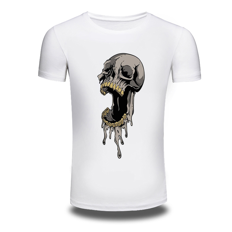 DY 203 Punk Style T font b Shirts b font O Neck Skull Printed Hiphop Summer
