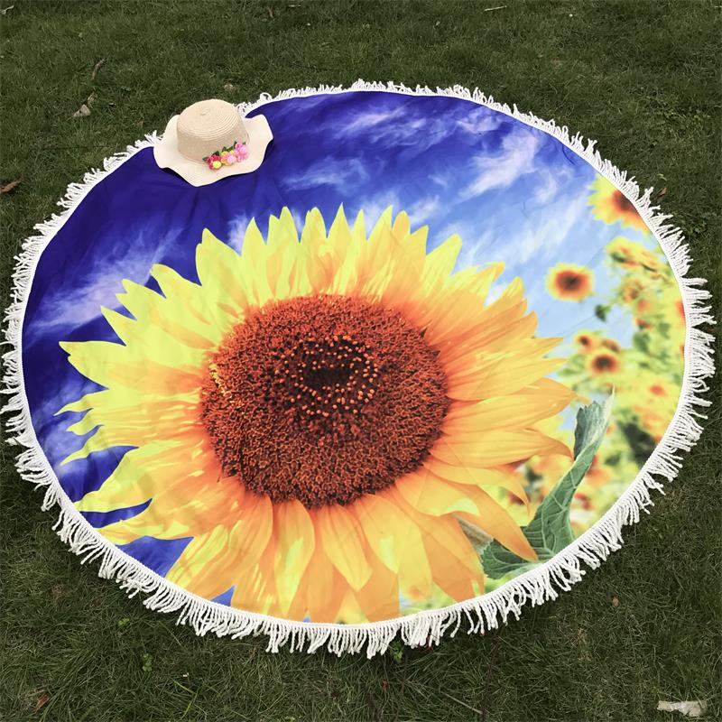 Sunflower Mat Printed Flower Tapestry Wall Hanging For Wall Decoration Hippie Tapestry Beach Mat Yoga Mat