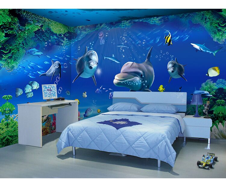 seamless 3d stereo dolphin wallpaper underwater world living room tv backdrop ktv restaurant cartoon wallpaper wallpaper - Underwater World Restaurant
