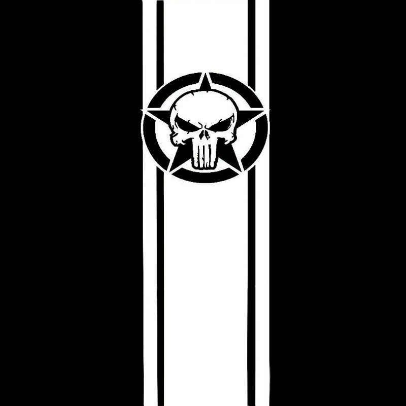 7,7 см * 25 см модные виниловые наклейки в полоску со звездами и черепом, наклейки на автомобиль для мотоцикла, черные/серебряные S6-3641