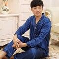 2015 Новый Пижамы Мужчины Осень Твердых Атласная Кардиган Мужчины Сна мужская Сна Lounge Pajama Наборы Роскошные Пижамы