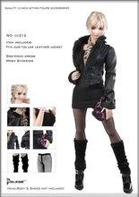 1/6 Scale cc212 Womens Black Plush Leather Coat Dress Stockings Clothes Suit Models for 12  Figures