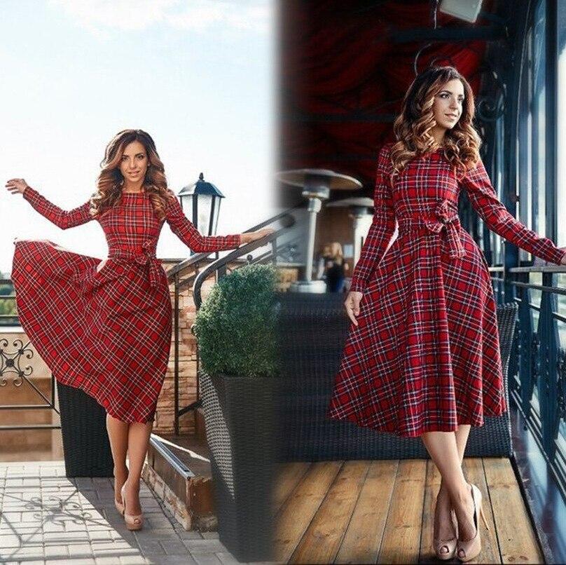 2017 nueva otoño de tela escocesa roja de manga larga mini vestido de las mujere