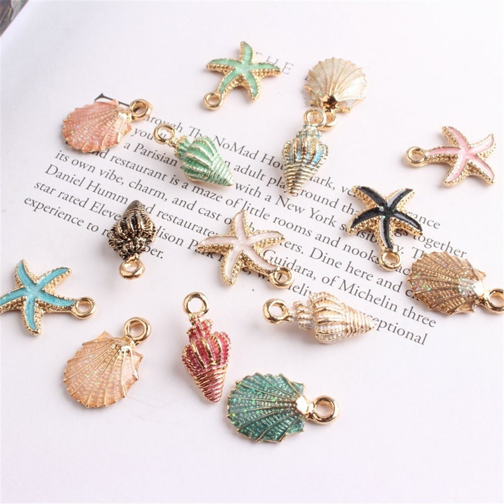 Hot! 13Pcs/Set Cute Colorful Conch Sea Shell Charms Ocean Pendants Making Handmade Accessories Craft Making Or Decoration
