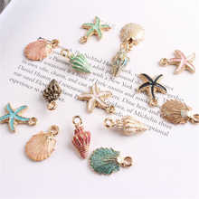 Hot! 13Pcs/Set Cute Colorful Conch Sea Shell Charms Ocean Pe