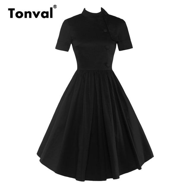 6e4b4b8e95933 US $19.8 25% OFF|Tonval Hepburn Style Stand Collar Summer Dress Women  Elegant Button Black Dresses Vintage 1950S Pleated Dress-in Dresses from  Women's ...