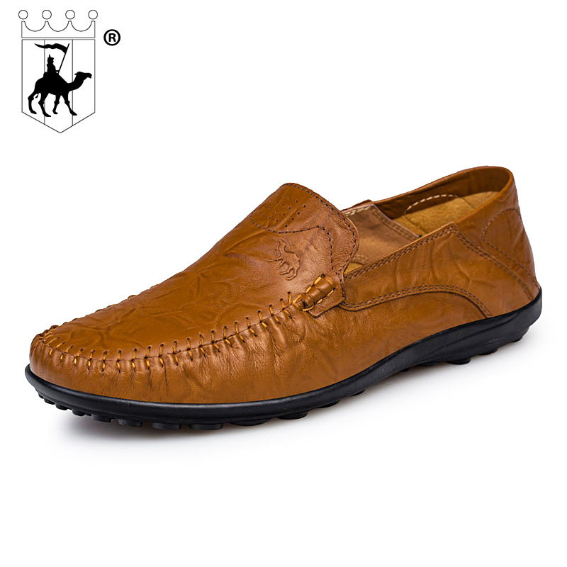 BACKCAMEL New Men 's Shoes First Layer Cow Leather Feet Lazy Genuine Leather Buns Handmade Peas Comfortable Casual Outdoor Shoes