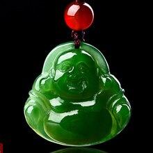 Natural Hetian jade Maitreya Buddha pendant men and women lucky jasper necklace gift box