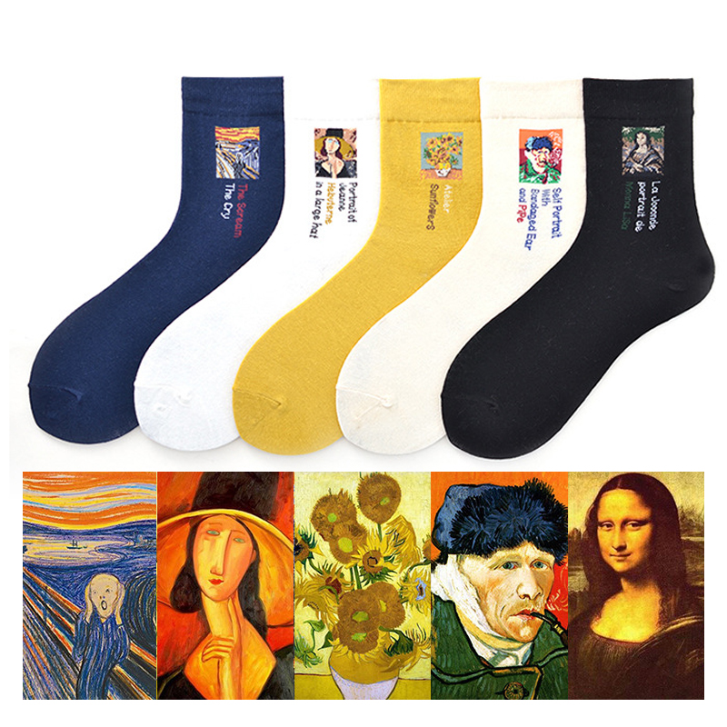 Modern Renaissance Winter Oil Painting Van Gogh Sunflower Mona Lisa   Socks   Female Retro Art Abstract Happy Funny Women   Socks