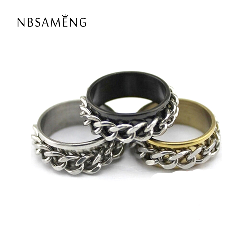 chain double rotating ring domineering ring for male and female domination gear couple ring free shipping 2017 new fashion sa056 - Gear Wedding Ring