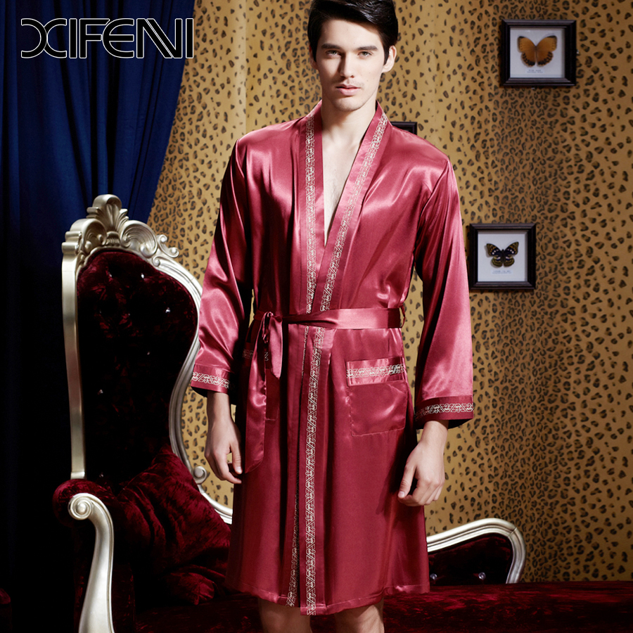 spring luxury silk bathrobe mens kimono long sleeve stain. Black Bedroom Furniture Sets. Home Design Ideas