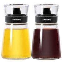 2 Pcs/set Kitchen Articles Creative Seasoning Can Set Seasoning Box Glass Oil Bottle Oil Storage