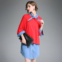 ZIYI Vintage Loose Dresses Suits 2 Pieces Solid Large Size Cotton Hole Tops Turn Down Collar