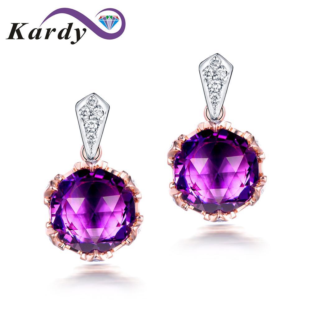Fine conception de bijoux Dangle Drop 14 K Multi ton or violet améthyste pierres précieuses diamant promesse fiançailles boucles d'oreilles ensembles