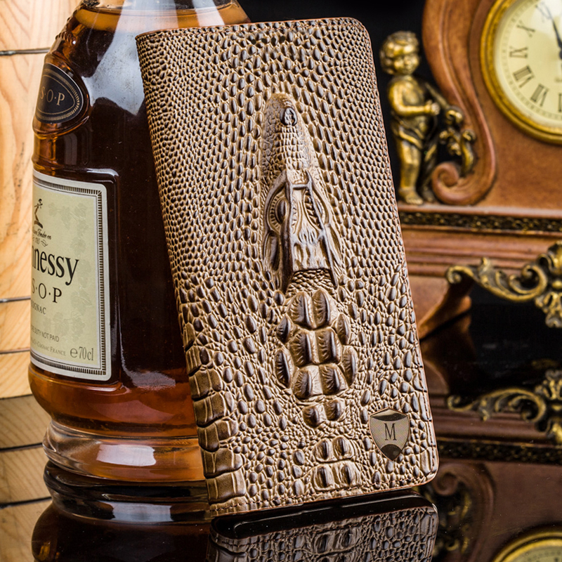 Cover For Huawei Honor 7 High Quality Top Genuine Leather Flip Luxury Card Holder Case 3D Crocodile Grain Phone Bag + Free Gift