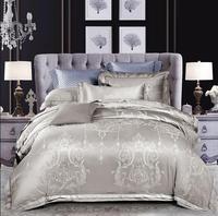 Silver Gray Jacquard Satin Bedding Set 4/6pcs Bedclothes Bed Set Silk/Cotton Duvet Cover Bed linen Pillowcases Queen King Size