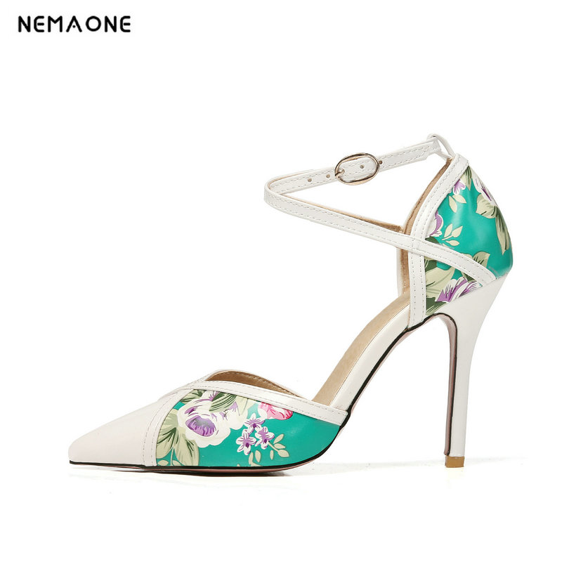 NEMAONE New Women shoes buckle High Heels Women pumps Ethnic Floral shoes Muje Party Shoes Zapatos Mujer