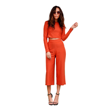 Chic Orange Long-Sleeves Two Piece Jumpsuits Rompers Feminino 2016
