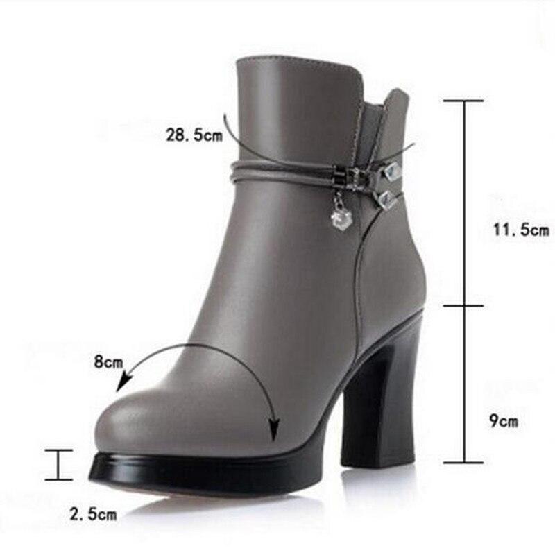 ZXRYXGS di marca stivali di lana caldo del cuoio genuino di scarpe da donna stivali da neve 2019 Nuovo inverno della caviglia stivali moda scarpe col tacco alto stivali-in Stivaletti da Scarpe su  Gruppo 3