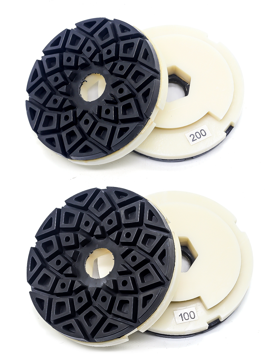 5 inch edge polishing pads abrasive polishing wheels snail lock back for marble and granite