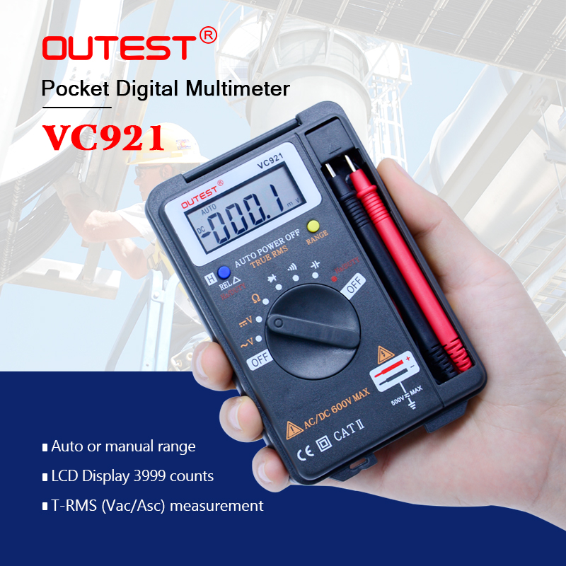VC921 Auto rang Mini Digital Multimeter DMM 4000 counts AC/DC Voltage Resistance Capacitance Diode Continuity Frequency tester automotive multimeter test vehicle car battery dc ac voltage frequency resistance diode pen style tester