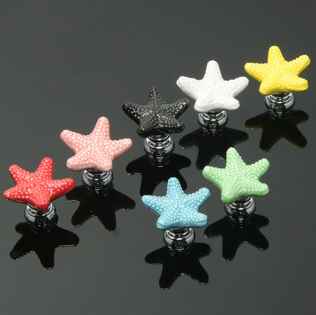 1pc Furniture Handles Starfish Cabinet Knobs and Handles Ceramic ...