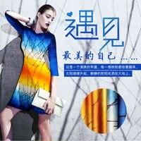 2016 yeni ağır dijital baskı bez ipek kumaş ipek streç saten giyim malzemesi şafak Lin Şube