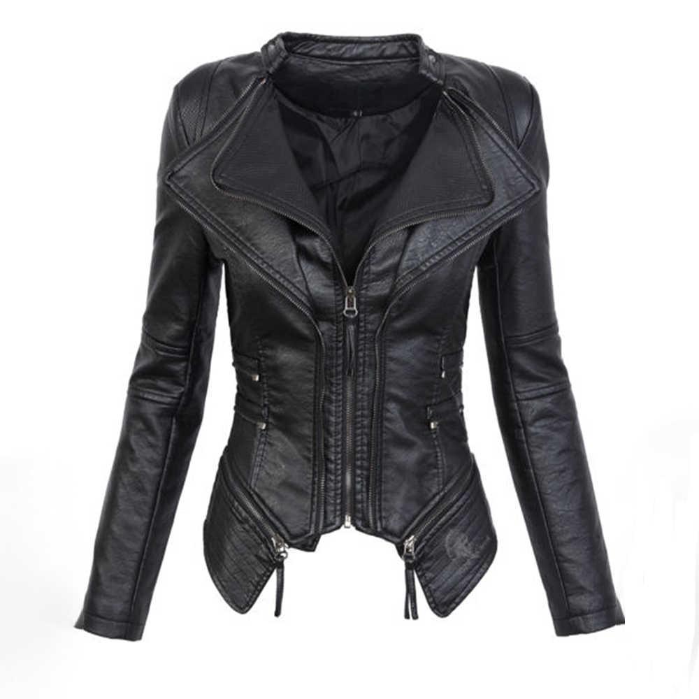 9723ddcb7a8 Black Gothic faux leather PU Jacket Women Winter Autumn Fashion Motorcycle Jacket  Coat Punk Zipper Outerwear