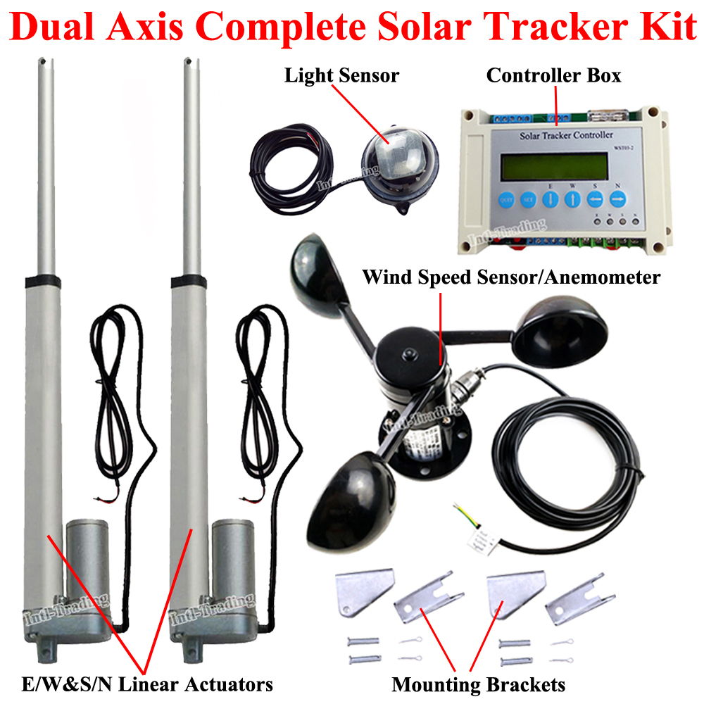 Single Axis Solar Panel Tracking Tracker System W 18 Linear Fuse Box On Dual 10 Actuators 330lbs Motor Lcd Controller