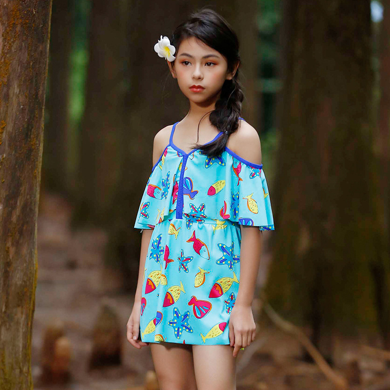 Swimsuit For Children Childrens Swimwear Kids Swimming Suit Junior Girls 2018 Girl Shell Printed Big Maiden Bathing Print