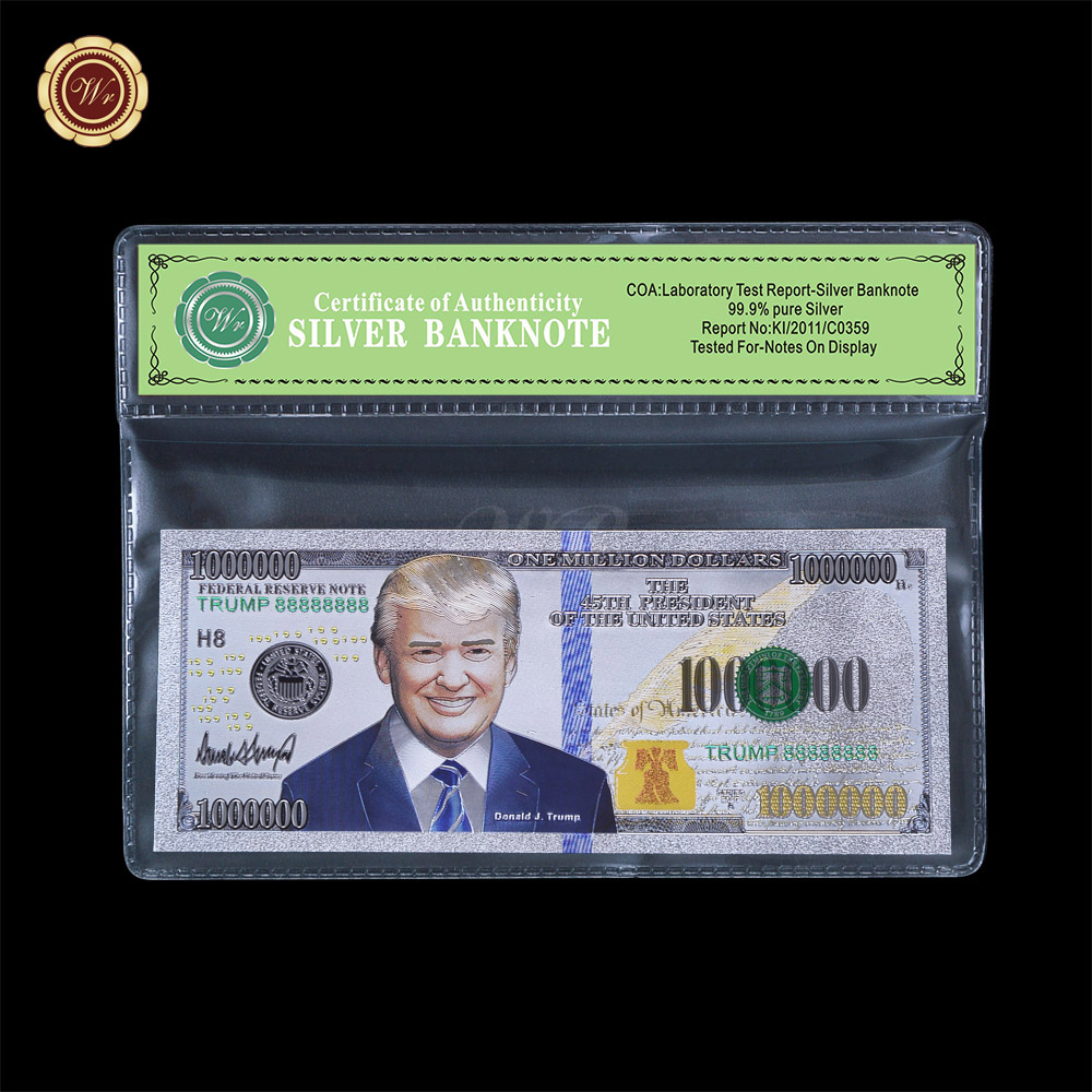 WR Home Decor Art Crafts Donald Trump Silver Banknote High Quality The American President Commemorative Bill Note 1:1size image