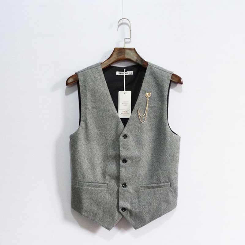 British Retro Solid Color Suit Vest For Men Casual Business Korean Of Handsome Slim Vest Plus Size Waistcoat Man Clothing 7XL