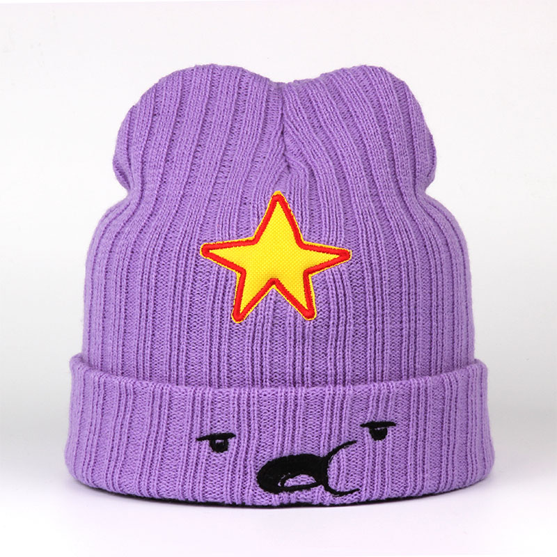 2018 New Winter Knitted Hats Female Fashion Embroidery Star Lovely Cap Soft Acrylic Women's Cute Emoji   Skullies     Beanies   For Girl