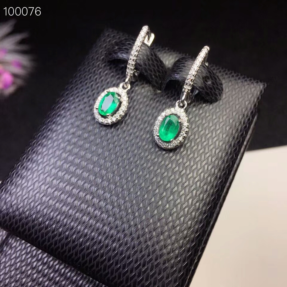 KJJEAXCMY fine jewelry 925 pure silver inlaid natural emerald Earrings support test